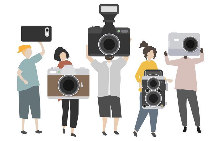 Gruppo di fotografi che tengono l'illustrazione delle macchine fotografiche