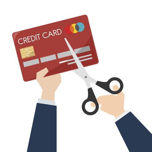 Ilustração, de, tesouras, corte, um, cartão crédito