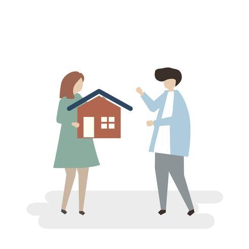 Abbildung der Paare, die ein neues Haus kaufen