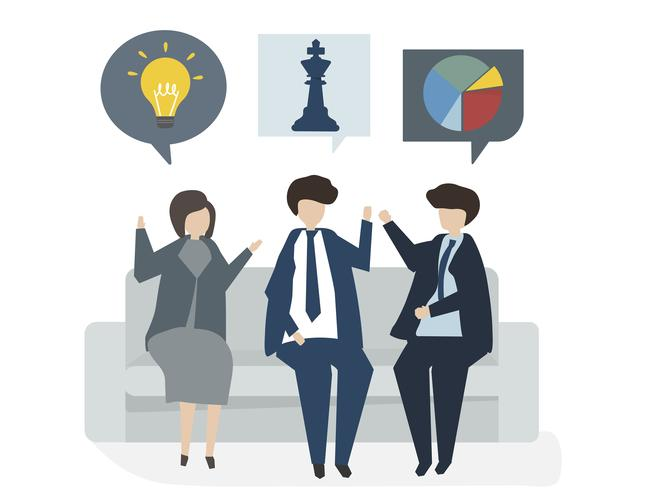 Illustrazione del concetto del business plan dell'avatar della gente