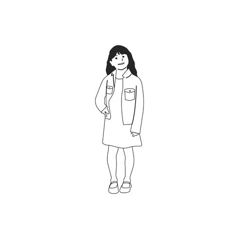 Illustré petite fille debout seul