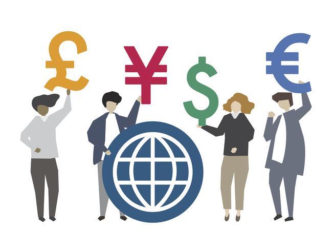 Pessoas, segurando, global, moeda corrente, símbolo, ilustração