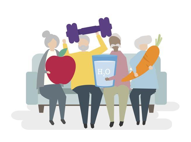Ilustración de personas mayores sanas vector