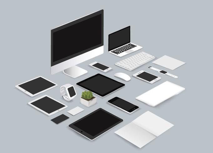 Illustrazione stabilita di vettore della raccolta del modello dell'ufficio su fondo grigio