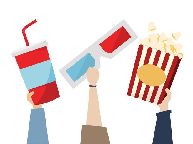 Snacks e óculos 3D para movietime