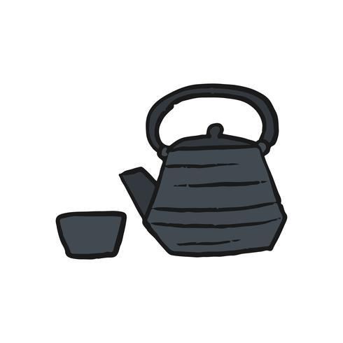 Illustrazione tradizionale della tazza e della teiera di tè