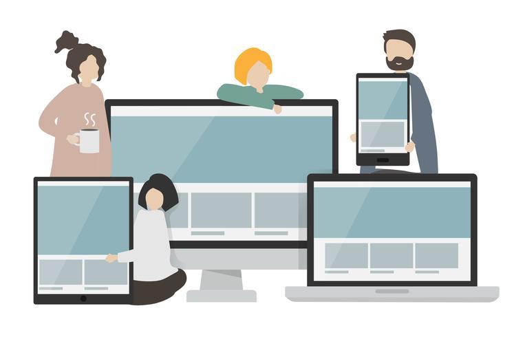 Illustration von Zeichen und Webvorlagen