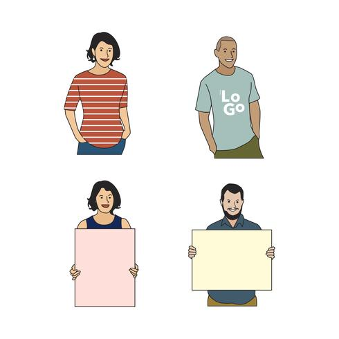 Illustrated cheerful human avatar set