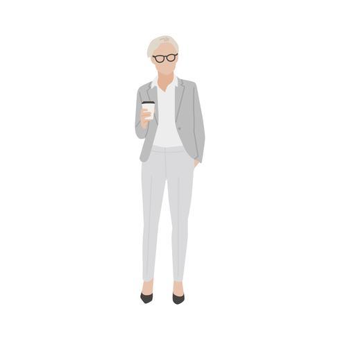 Femme d'affaires illustrée avec café chaud