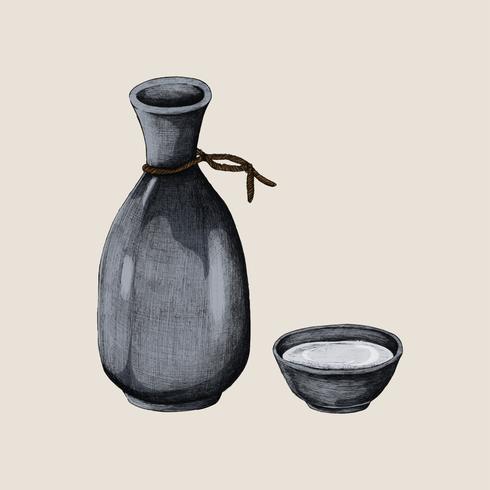 Illustration av japanska alkohol dricka vas
