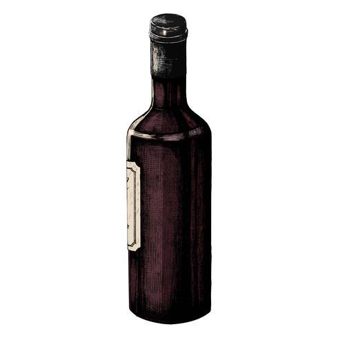 Bouteille de vin dessiné à la main isolé