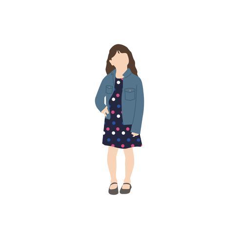 Menina ilustrada que está sozinho