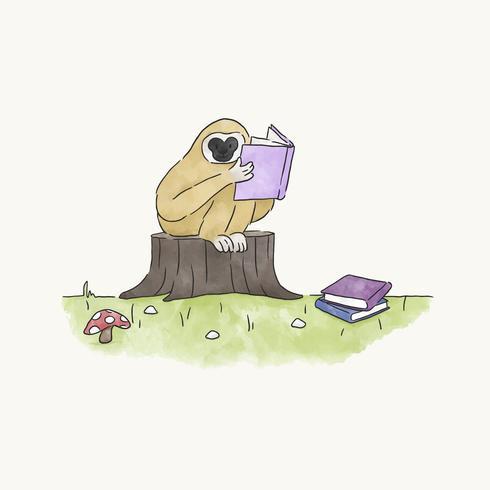 Macaco lendo um livro