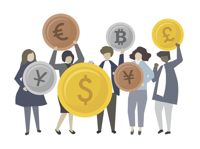 Personas con ilustración de iconos financieros