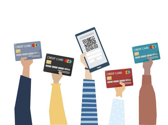Illustrazione del pagamento online con carta di credito