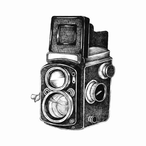 Hand drawn retro film camera