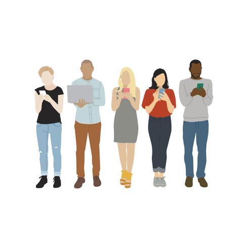 Illustration av olika människor som använder digitala enheter