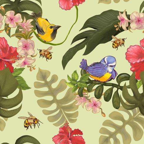 Ilustración de aves en la naturaleza
