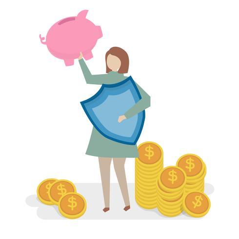 Illustration av ekonomisk försäkringskoncept