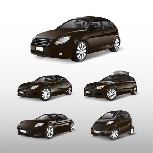 Ensemble de divers modèles de vecteurs de voiture brune