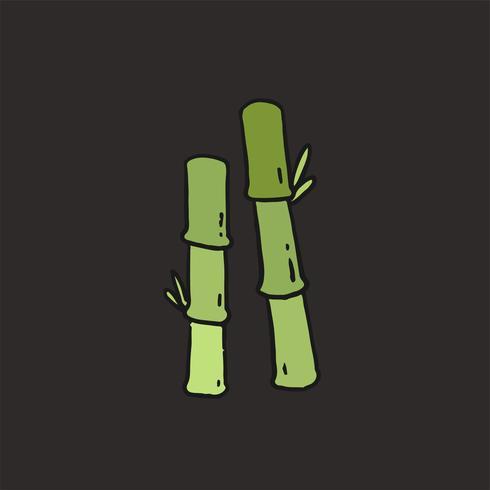 Hand gezeichnete grüne Bambusillustration