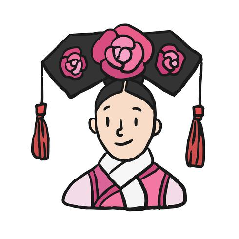 Hand drawn Chinese woman in Qing dynasty princess dress costume