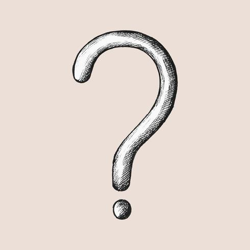 Illustrazione di punto interrogativo grigio disegnato a mano