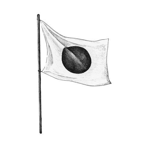 Bandeira japonesa desenhada de mão com vara