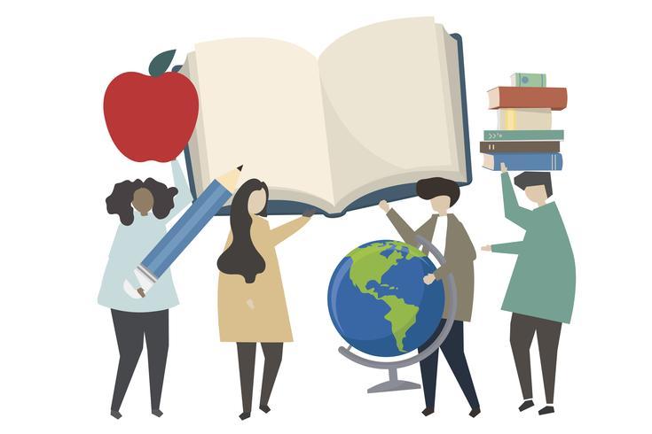 Gente y la ilustración del concepto de educación