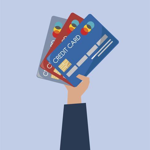 Illustration d'une main tenant des cartes de crédit