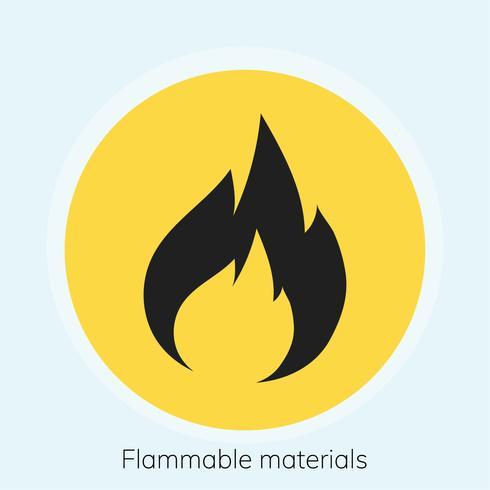 Ilustração de sinal de advertência de materiais inflamáveis