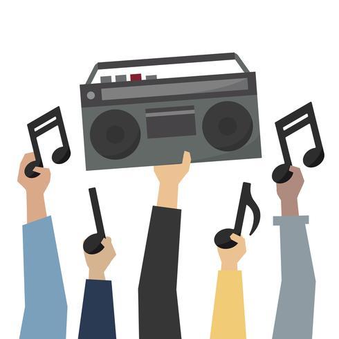 Mãos, mostrando, um, retro, rádio, e, notas música, ilustração