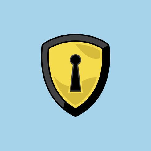 Sköld med lås ikon illustration