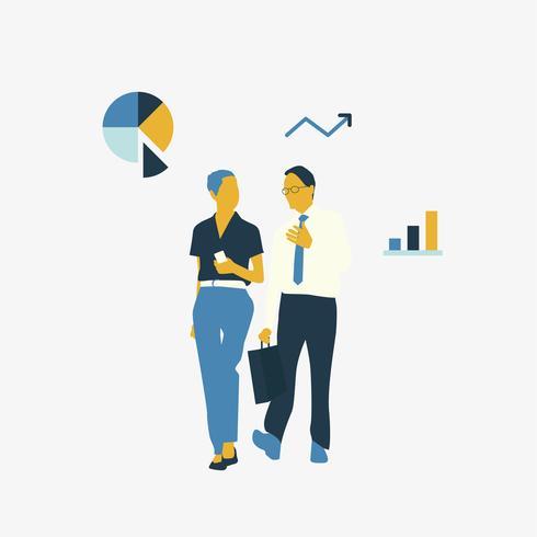 Geïllustreerde avatar zakenlui die samen spreken