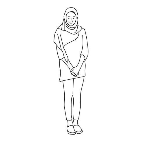 Illustrated islamic woman covered with hijab