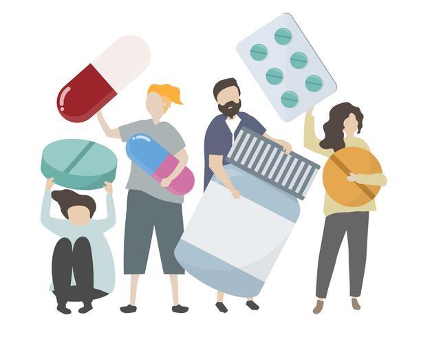 Gente, tenencia, farmacéutico, iconos, ilustración vector