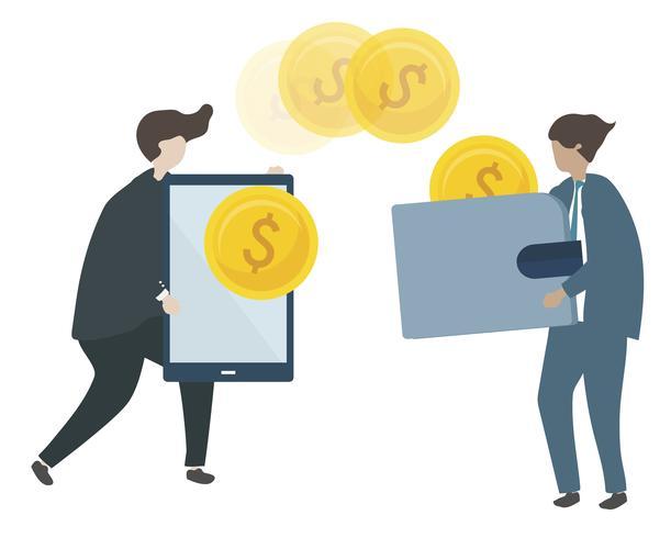 Illustration av tecken som handlar pengar