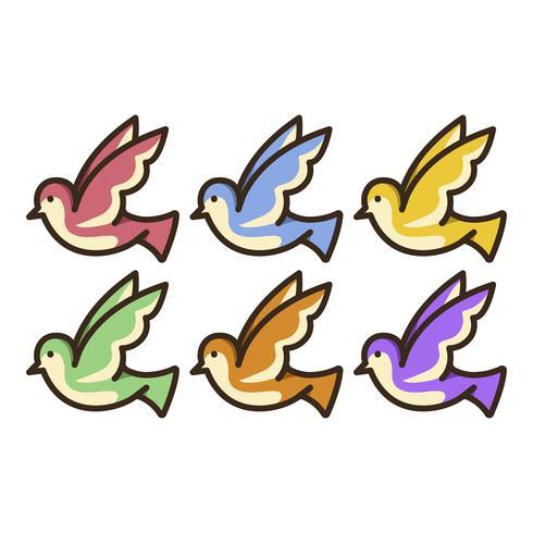Ensemble d'illustration de colombes colorées