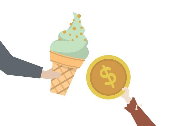 Garoto comprando um sorvete