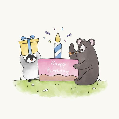 Urso e pinguim tendo uma festa de aniversário