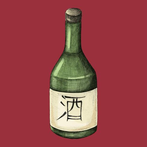 Illustratie van Japanse alcoholfles