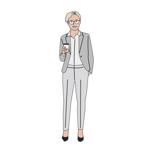 Donna illustrata di affari con caffè caldo