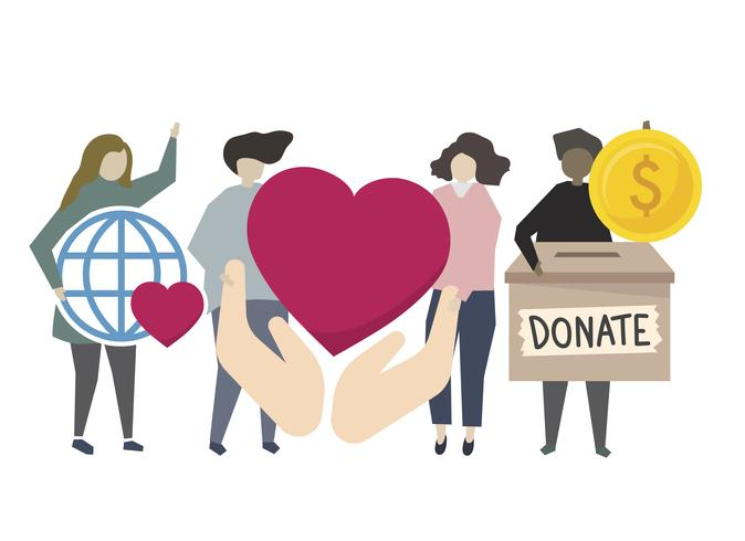 Donation and volunteering community service illustration