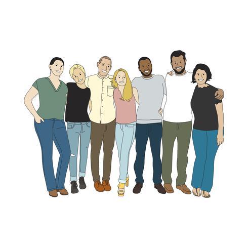 Illustrazione di persone diverse braccia intorno a vicenda