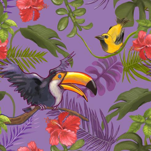 Tropical plants and colorful birds and flowers