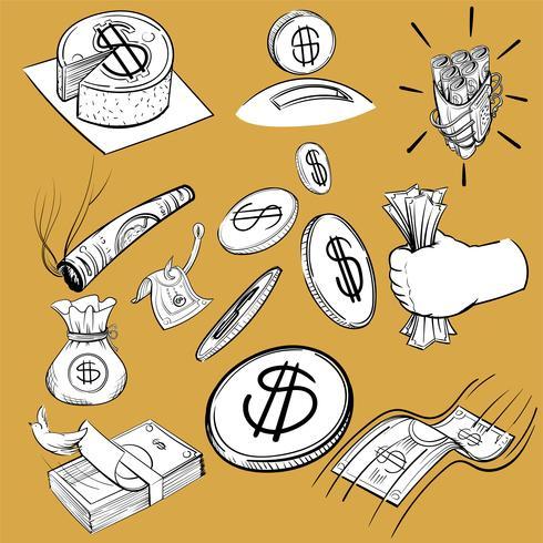 Mão, desenho, ilustração, jogo, de, finanças