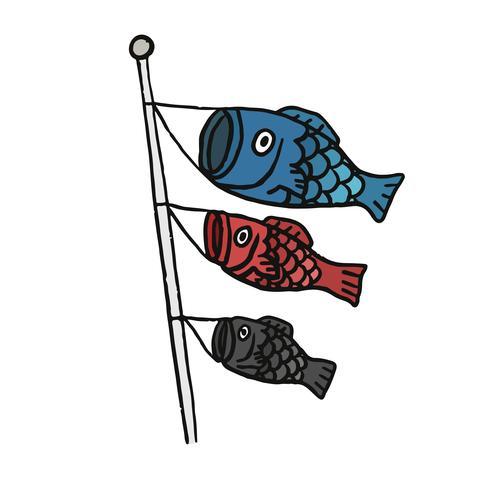 Lanternas de peixe voando no vento
