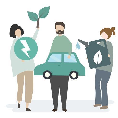 Ilustração de pessoas com recursos da natureza