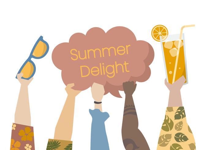 Illustration of people enjoying summertime
