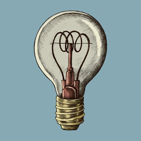 Bombilla dibujada a mano ilustración